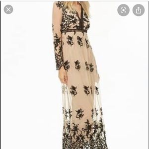 Black and nude lace overlay maxi dress